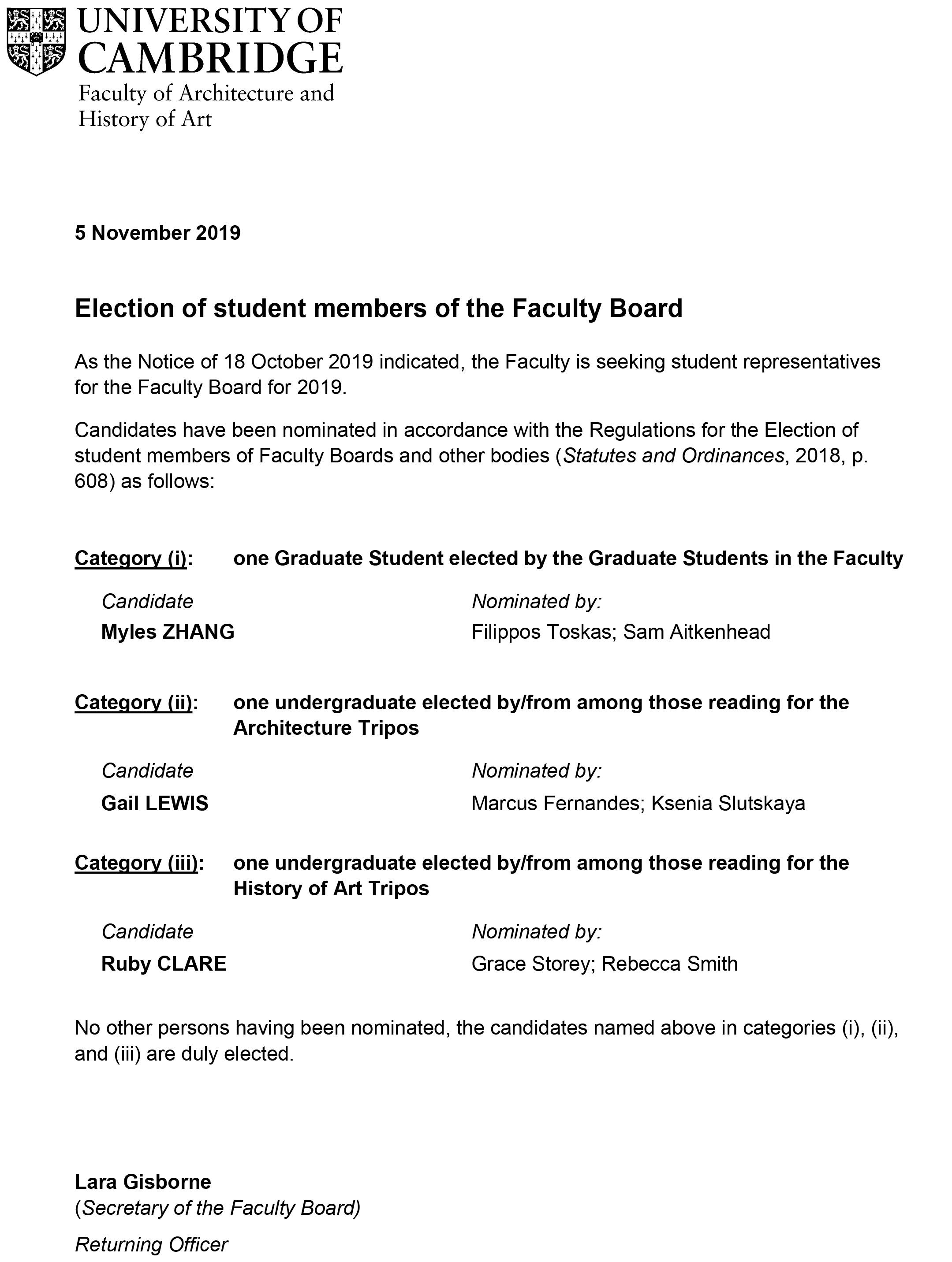 Election of student members